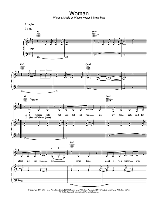 Delta Goodrem Woman sheet music notes and chords