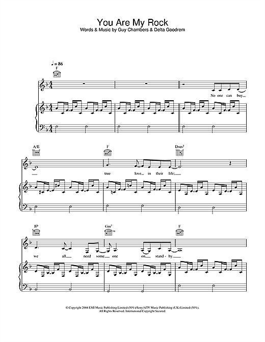 Delta Goodrem You Are My Rock sheet music notes and chords
