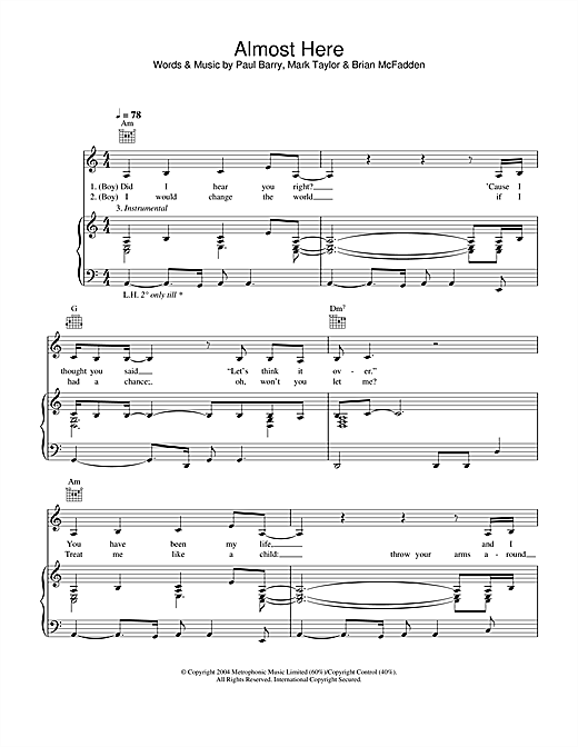 Delta Goodrem & Brian McFadden Almost Here sheet music notes and chords. Download Printable PDF.