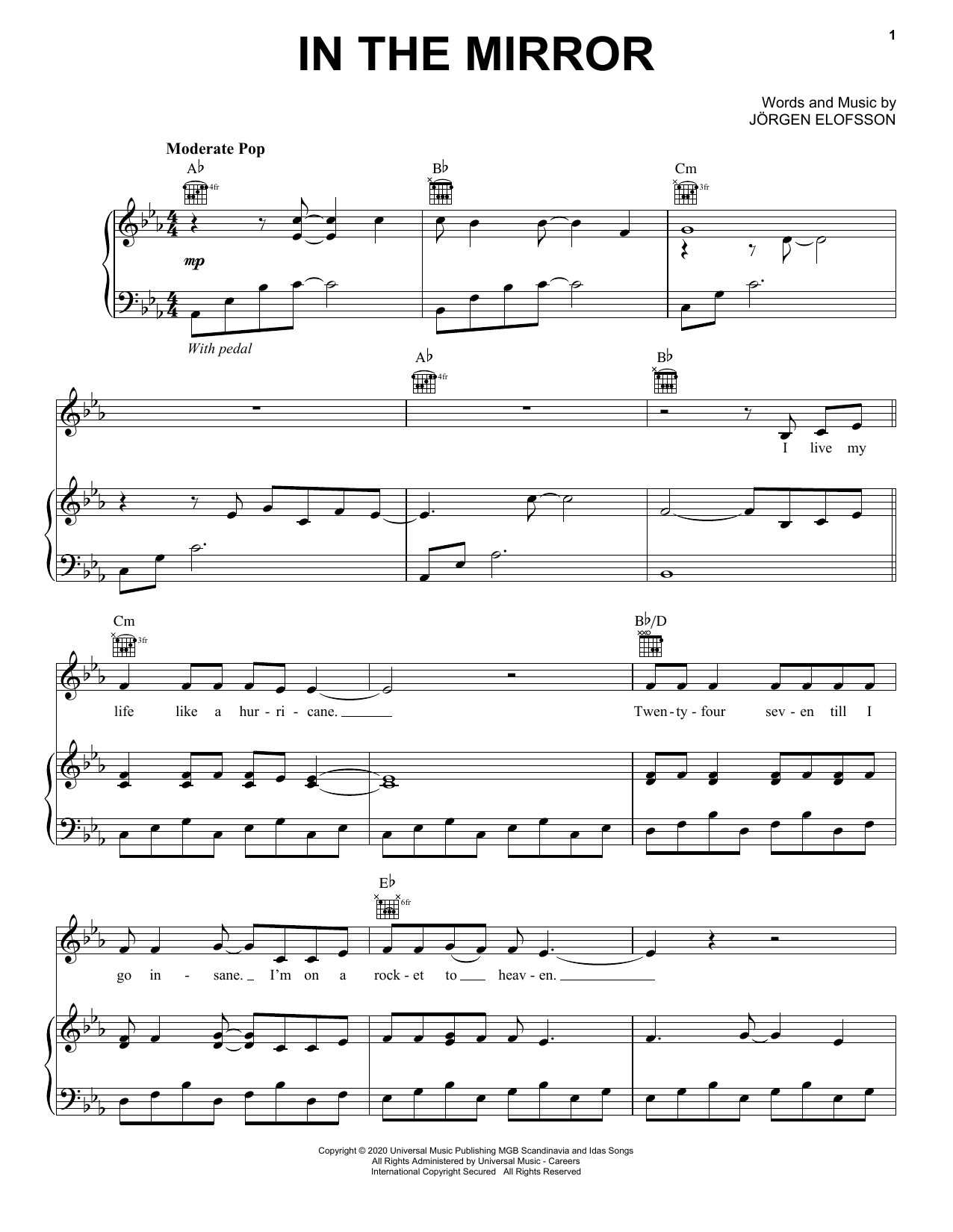 Demi Lovato In The Mirror (from Eurovision Song Contest: The Story of Fire Saga) sheet music notes and chords. Download Printable PDF.
