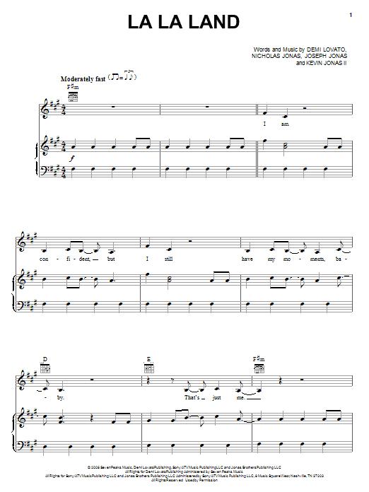 Demi Lovato La La Land sheet music notes and chords. Download Printable PDF.