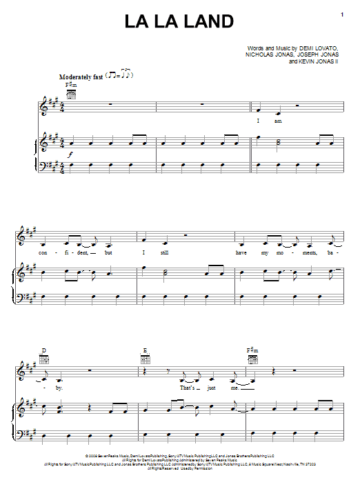 Demi Lovato La La Land Sheet Music Pdf Notes Chords Pop Score Piano Vocal Guitar Right Hand Melody Download Printable Sku 69748