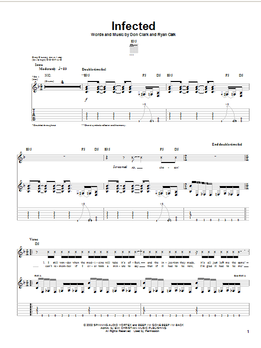 Demon Hunter Infected sheet music notes and chords. Download Printable PDF.