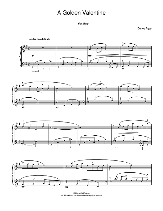 Denes Agay A Golden Valentine (for Piano) sheet music notes and chords. Download Printable PDF.