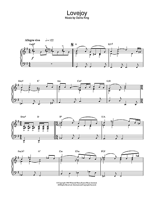 Denis King Theme from Lovejoy sheet music notes and chords