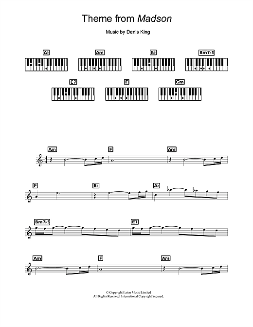 Denis King Theme from Madson sheet music notes and chords. Download Printable PDF.