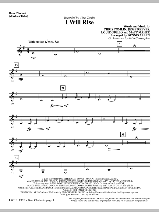 Dennis Allen I Will Rise - Bass Clarinet (sub. Tuba) sheet music notes and chords. Download Printable PDF.
