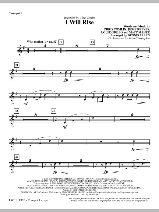 Dennis Allen I Will Rise - Bb Trumpet 1 sheet music notes and chords. Download Printable PDF.