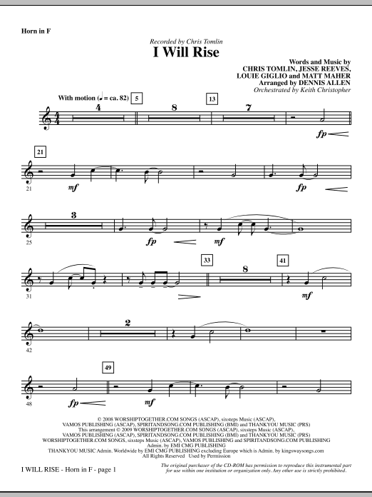 Dennis Allen I Will Rise - F Horn sheet music notes and chords. Download Printable PDF.