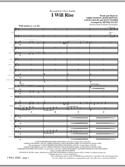 Dennis Allen I Will Rise - Full Score sheet music notes and chords. Download Printable PDF.