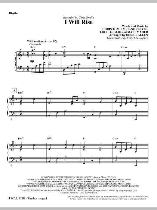 Dennis Allen I Will Rise - Rhythm sheet music notes and chords. Download Printable PDF.