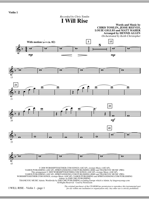 Dennis Allen I Will Rise - Violin 1 sheet music notes and chords. Download Printable PDF.