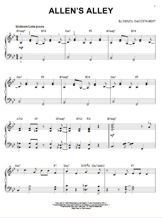 Denzil DeCosta Best Allen's Alley sheet music notes and chords