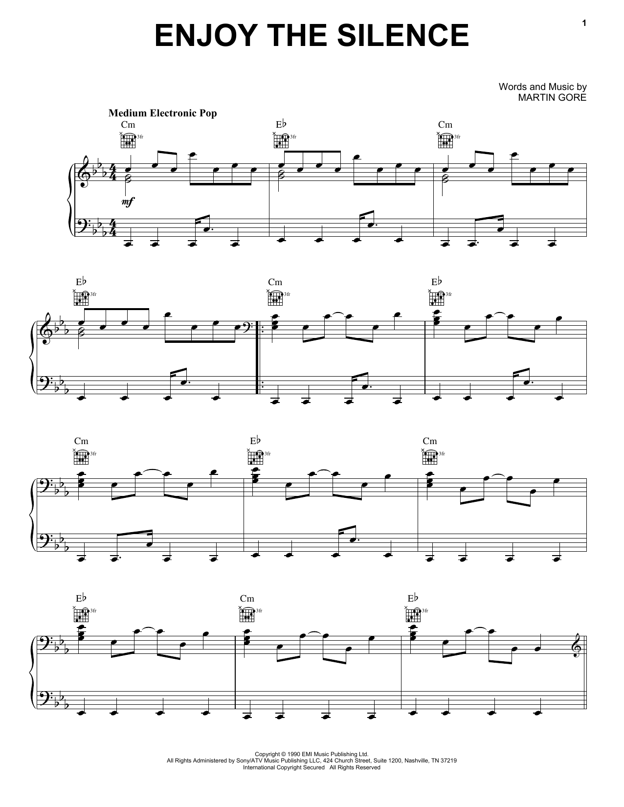 Depeche Mode Enjoy The Silence sheet music notes and chords. Download Printable PDF.