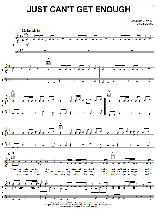 Depeche Mode Just Can't Get Enough sheet music notes and chords. Download Printable PDF.