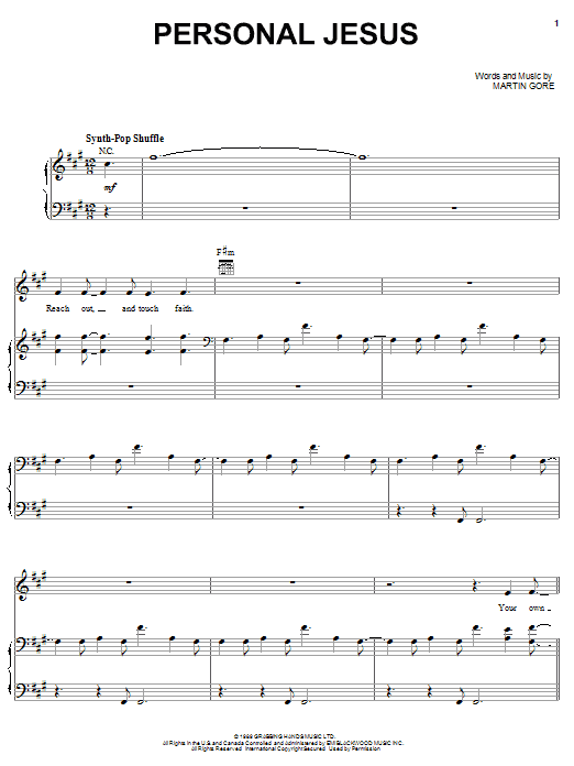 Depeche Mode Personal Jesus sheet music notes and chords. Download Printable PDF.