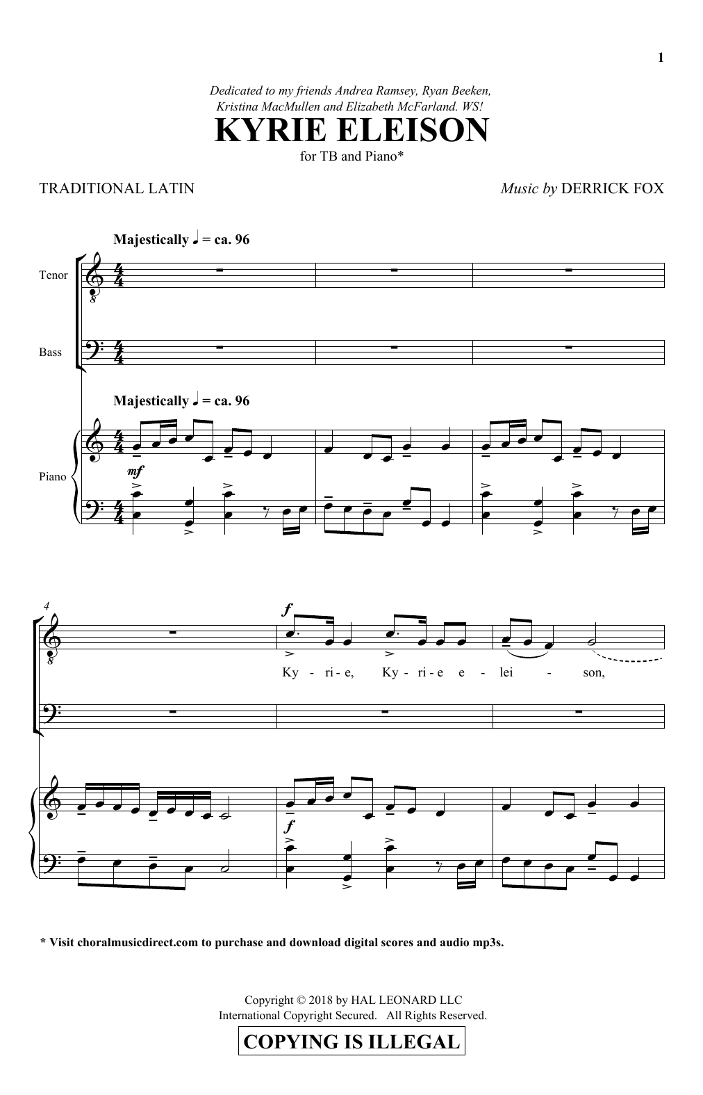 Derrick Fox Kyrie Eleison sheet music notes and chords. Download Printable PDF.