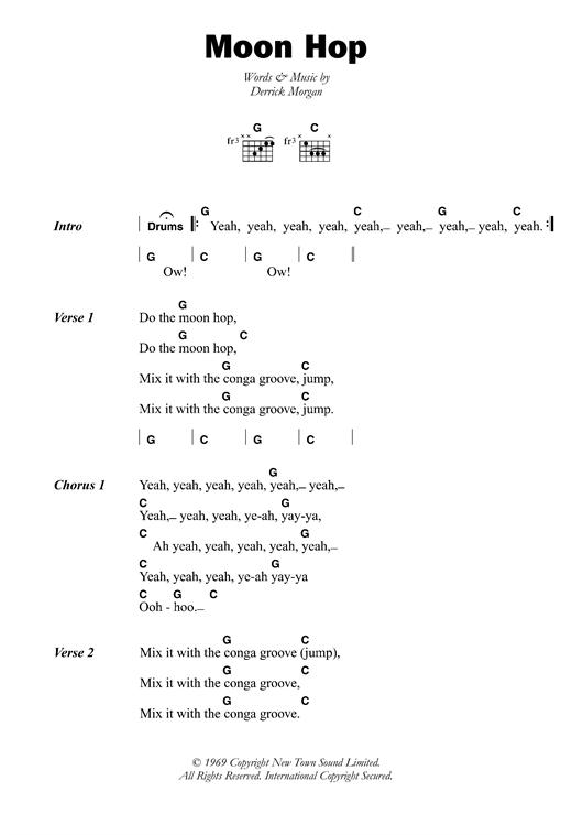 Derrick Morgan Moon Hop sheet music notes and chords. Download Printable PDF.