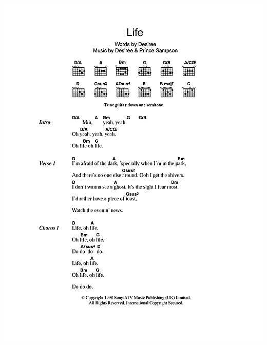 Des'ree Life sheet music notes and chords. Download Printable PDF.