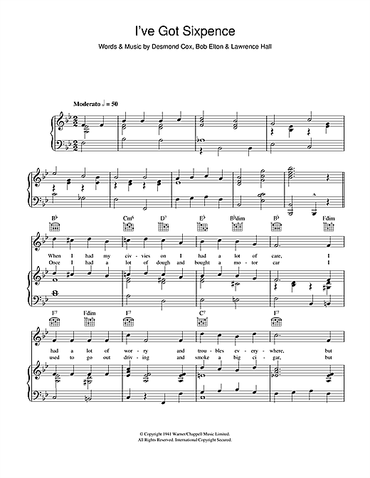 Desmond Cox I've Got Sixpence sheet music notes and chords. Download Printable PDF.