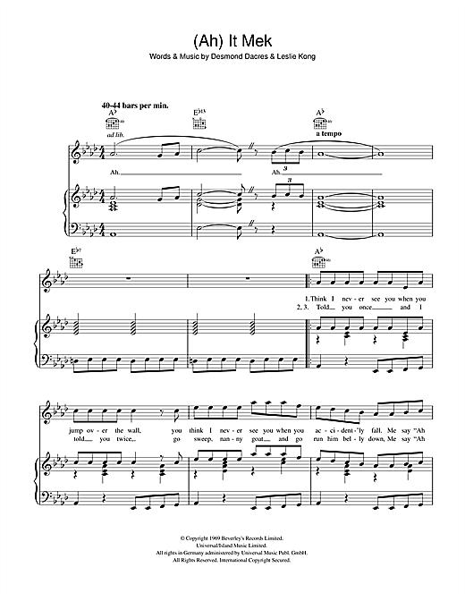 Desmond Dekker (Ah) It Mek sheet music notes and chords