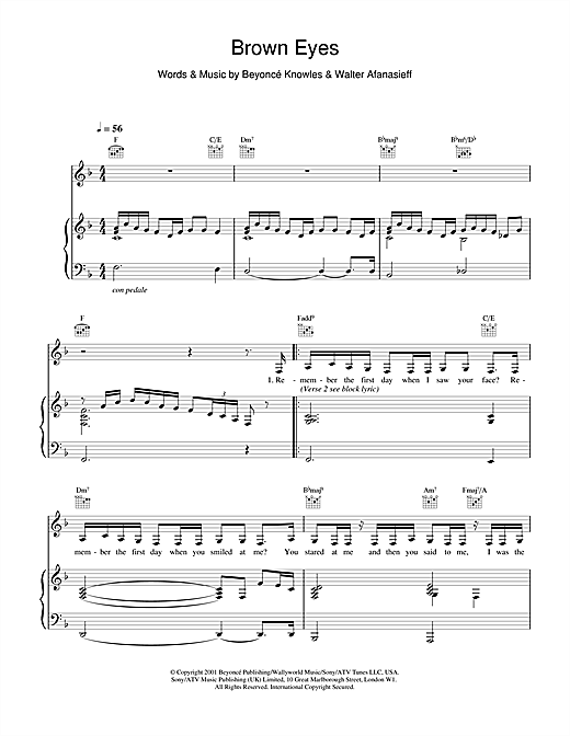 Destiny's Child Brown Eyes sheet music notes and chords