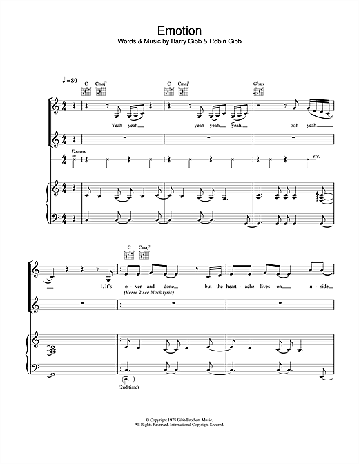 Destiny's Child Emotion sheet music notes and chords