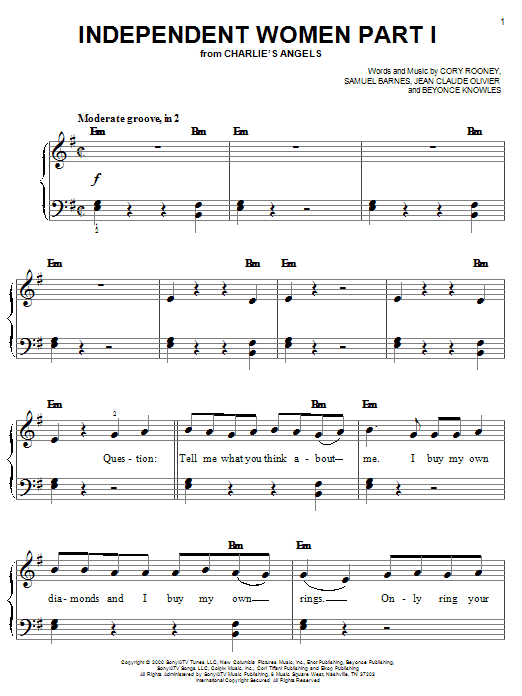 Destiny's Child Independent Women Part I (from Charlie's Angels) sheet music notes and chords