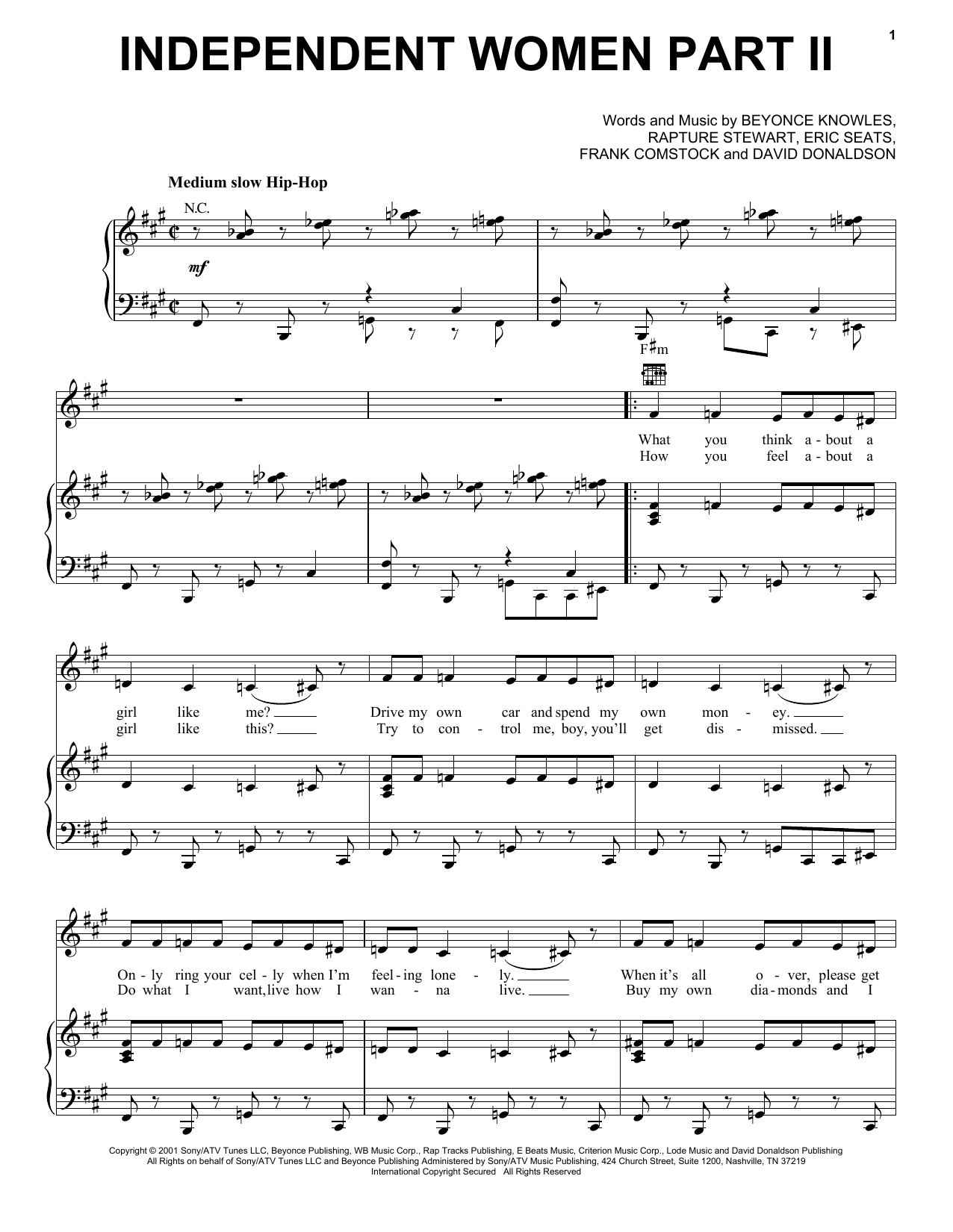 Destiny's Child Independent Women Part II sheet music notes and chords. Download Printable PDF.