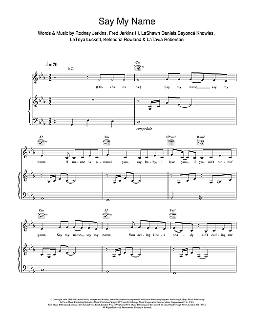 Destiny's Child Say My Name sheet music notes and chords. Download Printable PDF.
