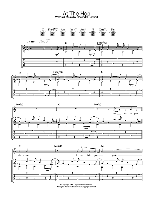 Devendra Banhart At The Hop sheet music notes and chords. Download Printable PDF.
