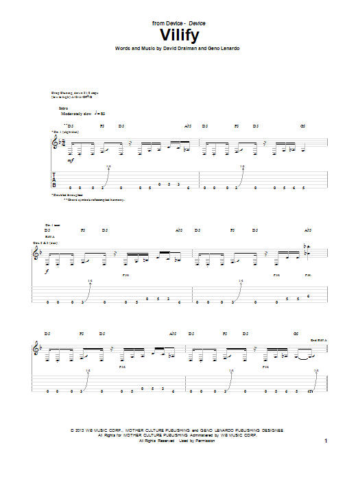 Device Vilify sheet music notes and chords. Download Printable PDF.