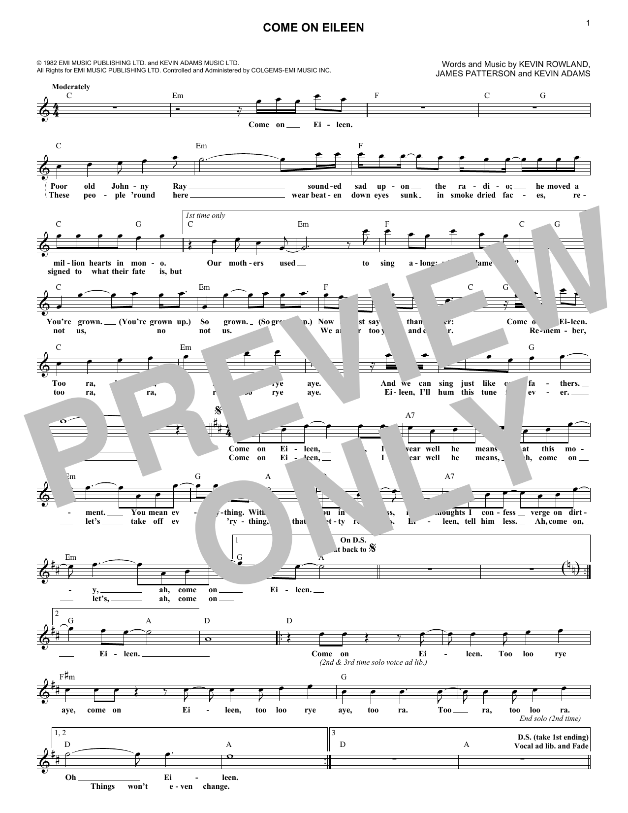 Dexys Midnight Runners Come On Eileen Sheet Music Notes, Chords   Download  Printable Lead Sheet / Fake Book PDF Score   SKU 15