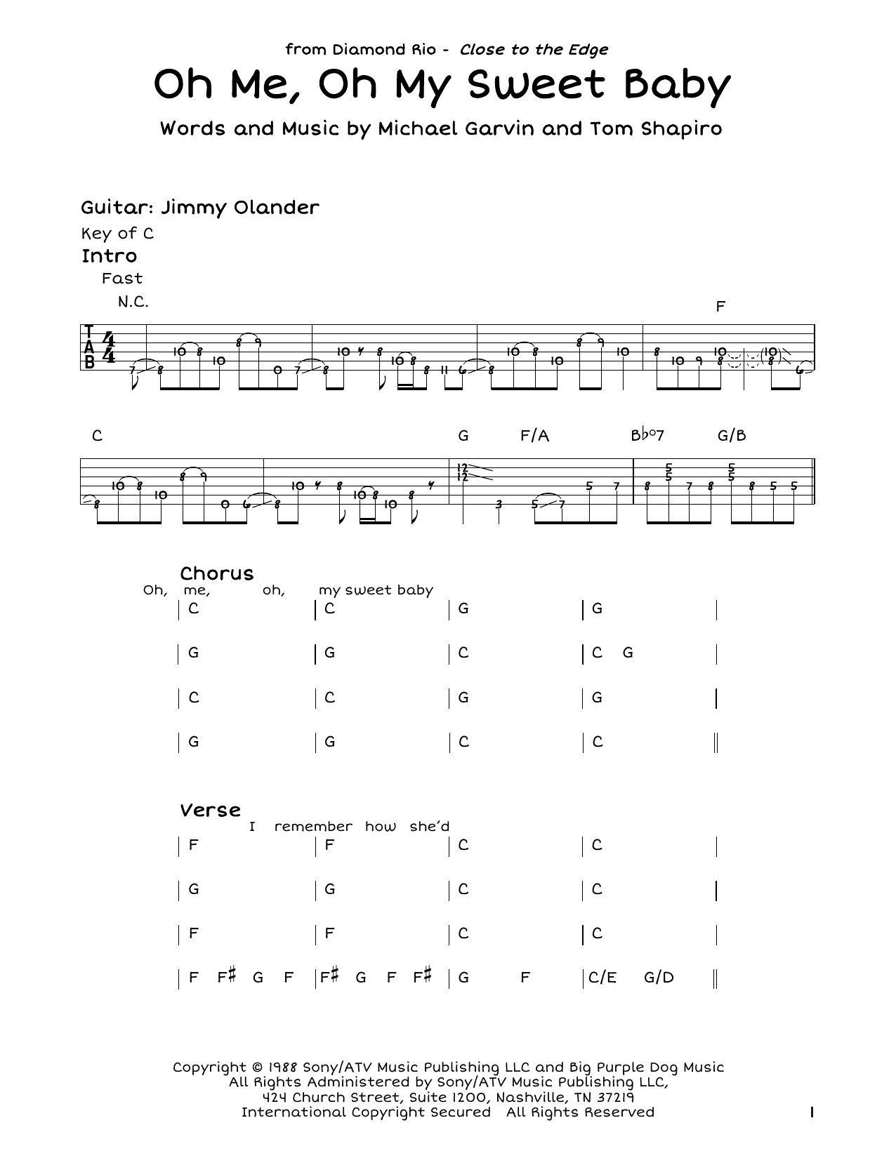 Diamond Rio Oh Me, Oh My Sweet Baby sheet music notes and chords. Download Printable PDF.