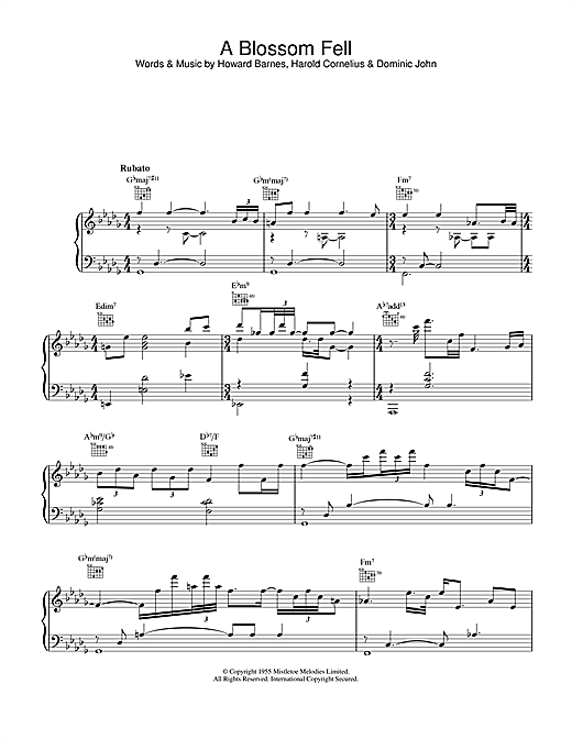 Diana Krall A Blossom Fell sheet music notes and chords