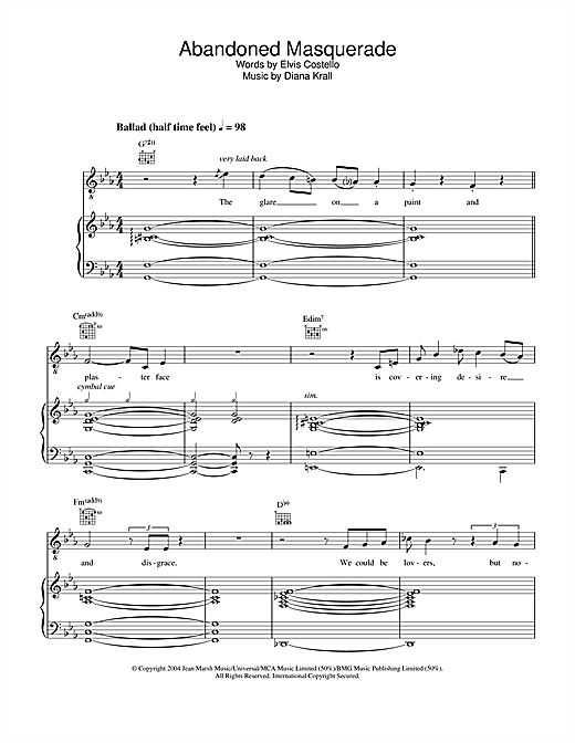 Diana Krall Abandoned Masquerade sheet music notes and chords. Download Printable PDF.