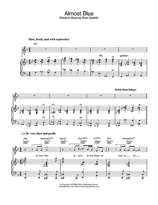 Diana Krall Almost Blue sheet music notes and chords. Download Printable PDF.