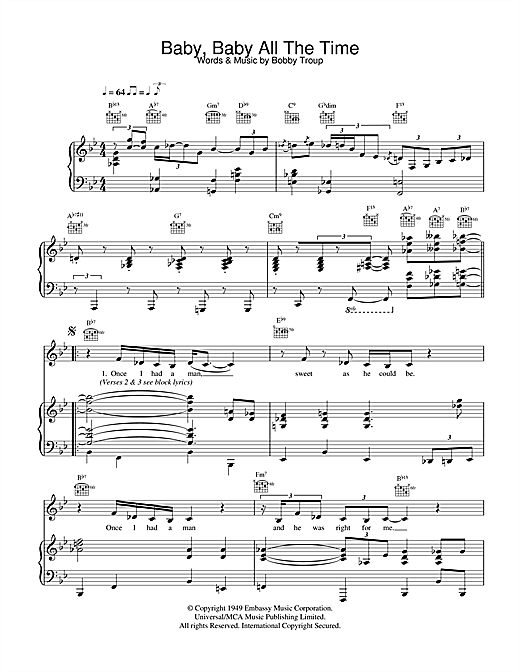 Diana Krall Baby Baby All The Time sheet music notes and chords