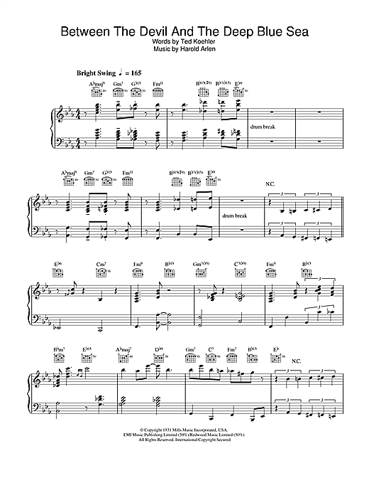 Diana Krall Between The Devil And The Deep Blue Sea sheet music notes and chords. Download Printable PDF.
