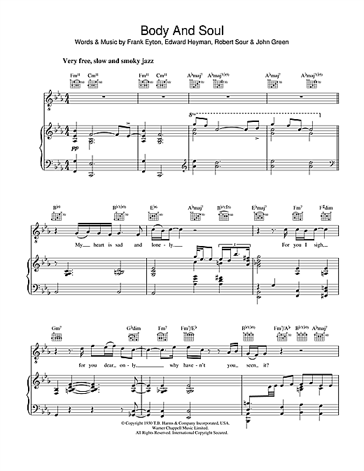 Diana Krall Body And Soul sheet music notes and chords