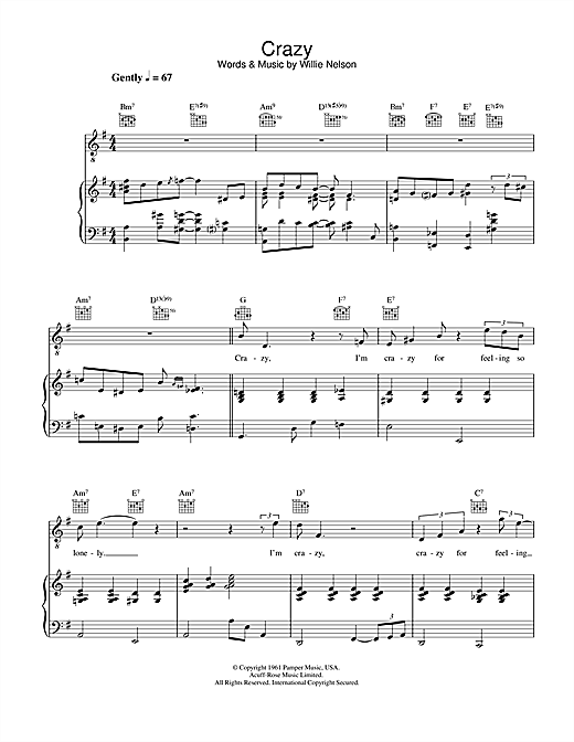 Diana Krall Crazy sheet music notes and chords. Download Printable PDF.
