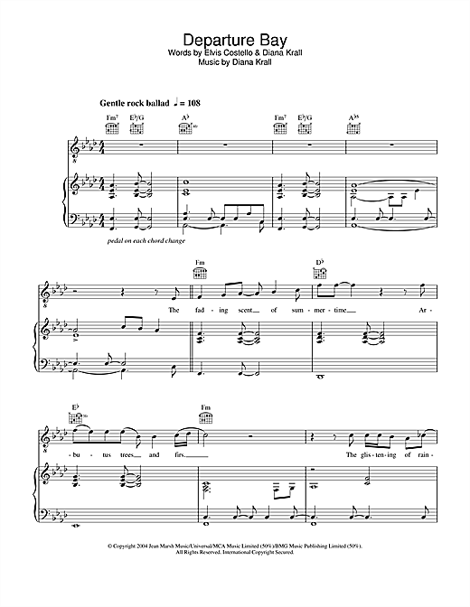 Diana Krall Departure Bay sheet music notes and chords. Download Printable PDF.