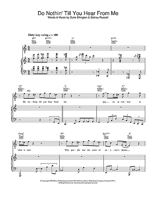 Diana Krall Do Nothin' Till You Hear From Me sheet music notes and chords. Download Printable PDF.
