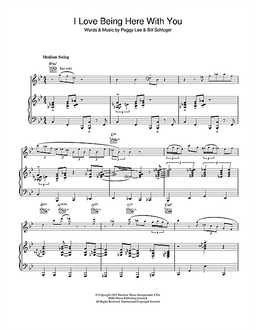 Diana Krall I Love Being Here With You sheet music notes and chords. Download Printable PDF.