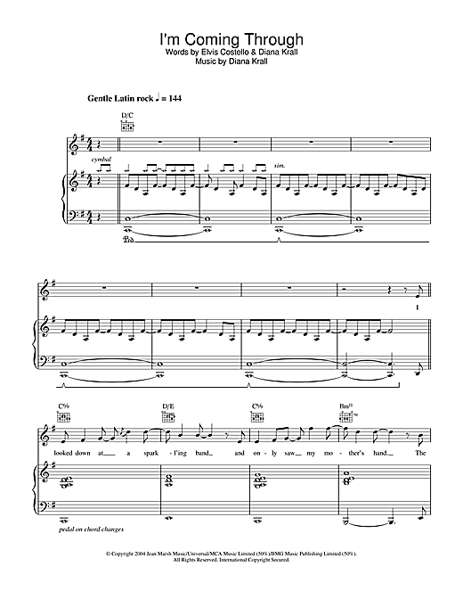 Diana Krall I'm Coming Through sheet music notes and chords. Download Printable PDF.