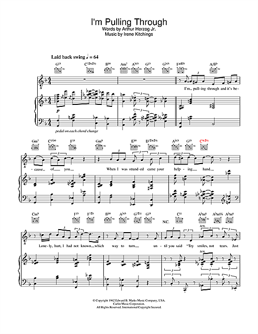 Diana Krall I'm Pulling Through sheet music notes and chords. Download Printable PDF.