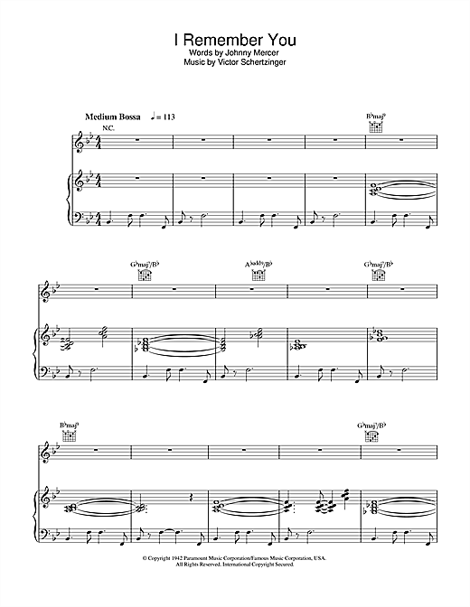 Diana Krall I Remember You sheet music notes and chords. Download Printable PDF.