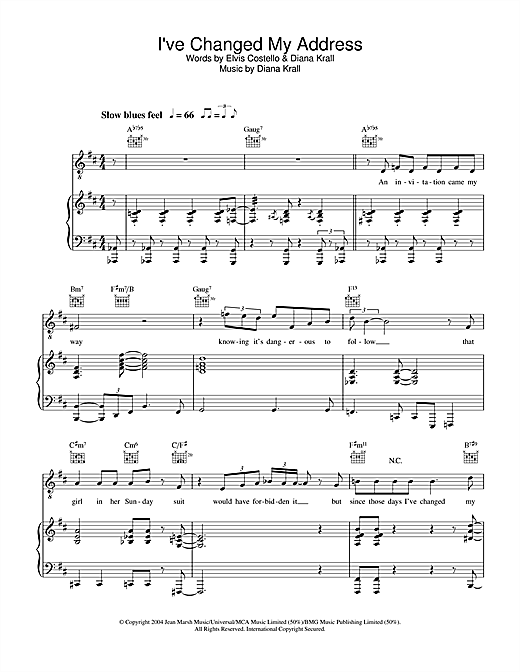 Diana Krall I've Changed My Address sheet music notes and chords. Download Printable PDF.