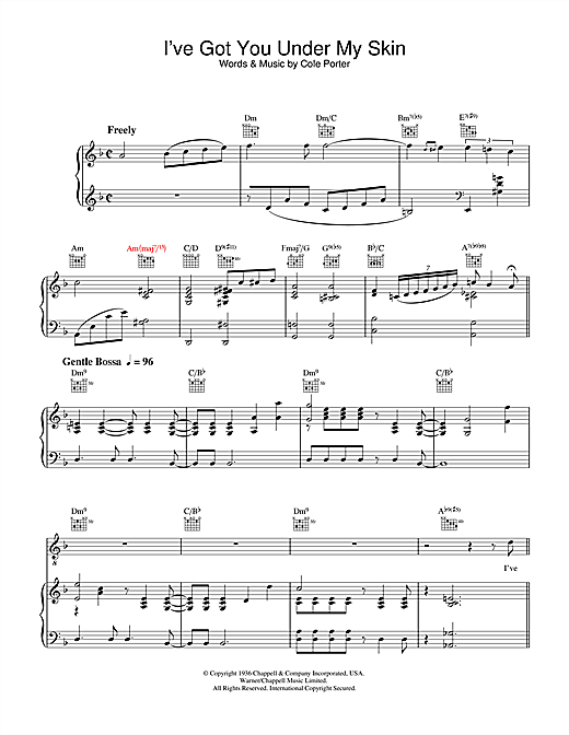Diana Krall I've Got You Under My Skin sheet music notes and chords. Download Printable PDF.