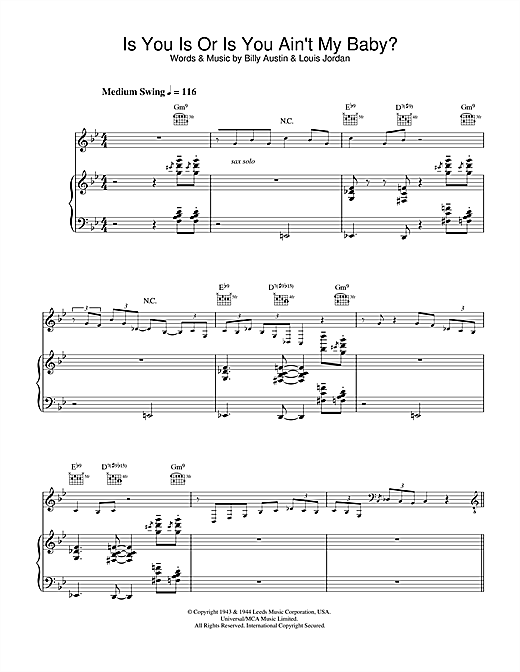 Diana Krall Is You Is Or Is You Ain't My Baby? sheet music notes and chords